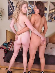 Sapphire and Lexy play with their big boobs and...