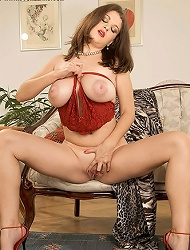 Brunette missy showing her natural boobies and...